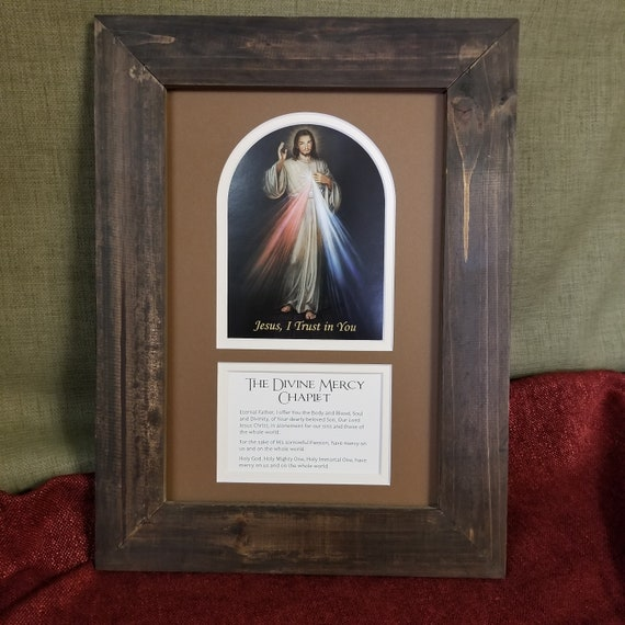 Divine Mercy Jesus art print with The Divine Mercy Chaplet prayer both framed and matted picture for home, office and gift giving
