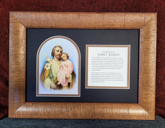 St Joseph and the child Jesus with Novena prayer framed and matted wall décor