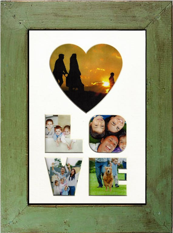 Wedding Gift Love Photo Mat with green rustic farm house frame  Anniversary new home family Valentine's Day Mother's Day and Christmas