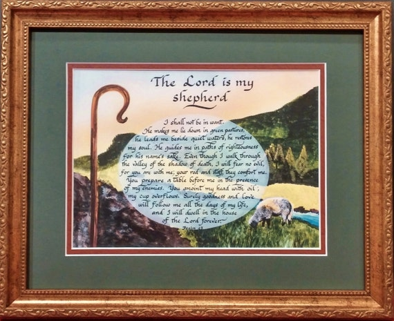 Psalm 23 The Lord is my Shepherd scripture Bible calligraphy verse framed with option to personalize with Free Psalm 23 Resin Angel
