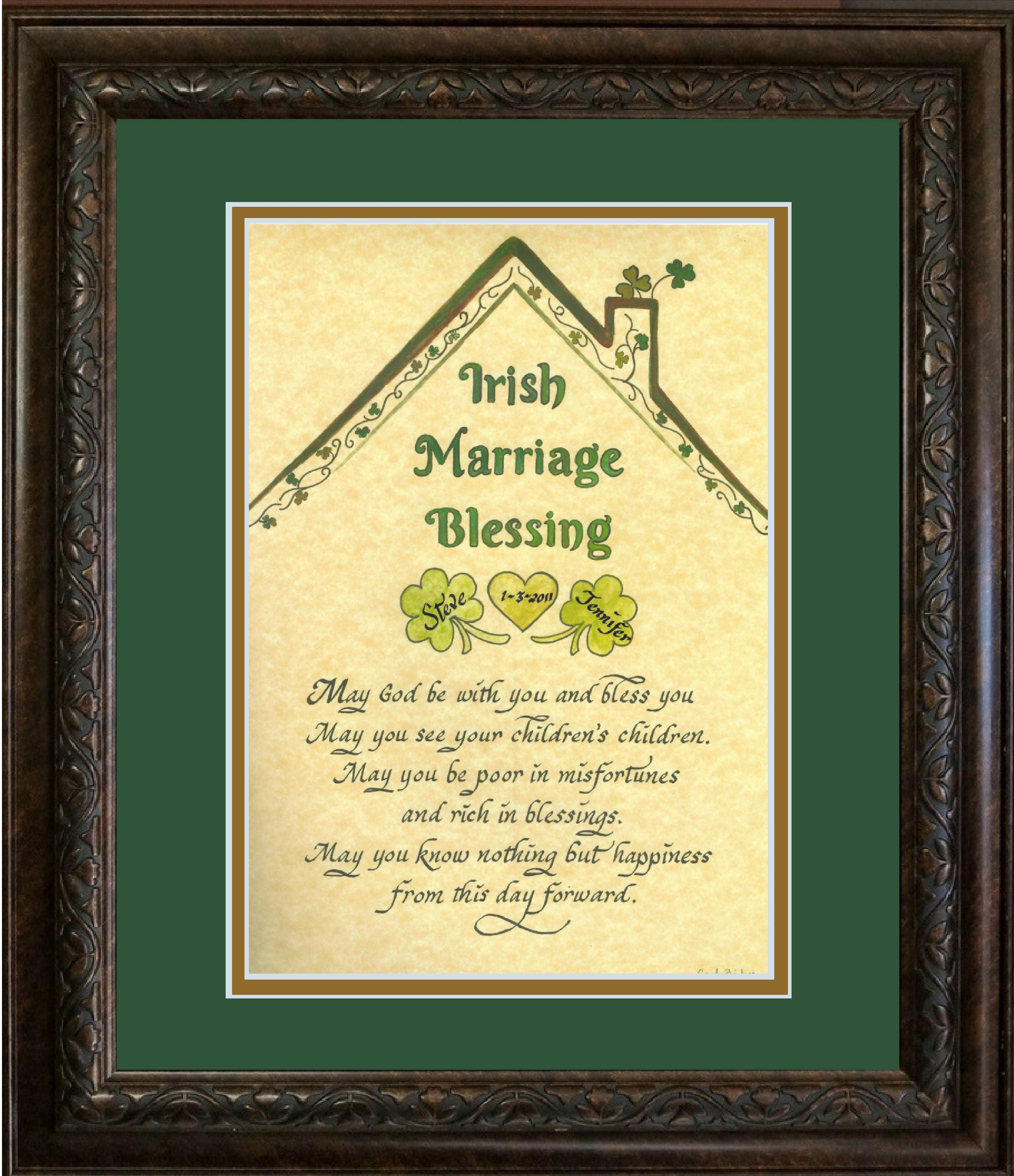 Irish Blessing Wedding Marriage Blessing with shamrocks and | Etsy