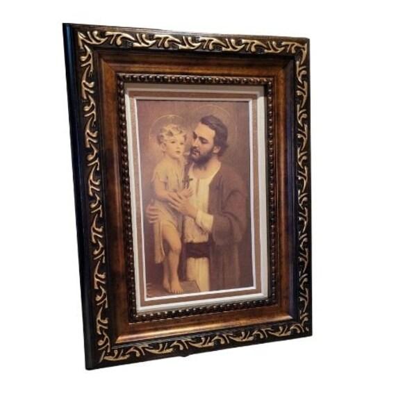 St. Joseph and the child Jesus mini framed desktop picture