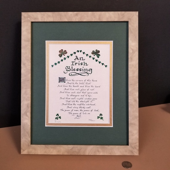 "Irish Blessing Gift God Bless the corners of this house a lintel blessed with option to personalize 8"" X10"" verse for desktop or shelf"