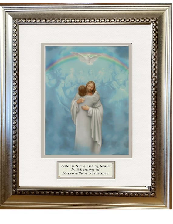 The Welcome Home Embrace by Jesus heavenly image framed and matted with personalization for memorial, sympathy and funeral