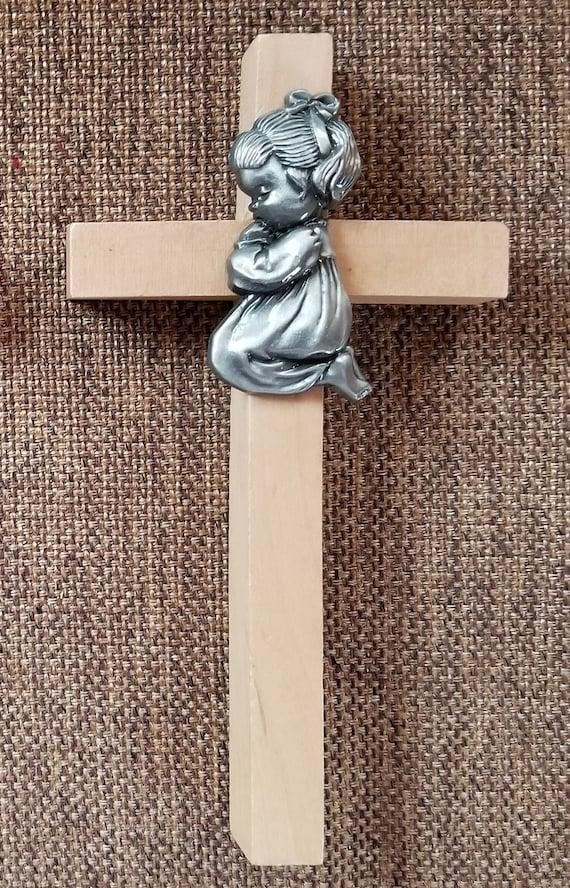 Baby Girl Wood Cross with pewter prayerful kneeling girl