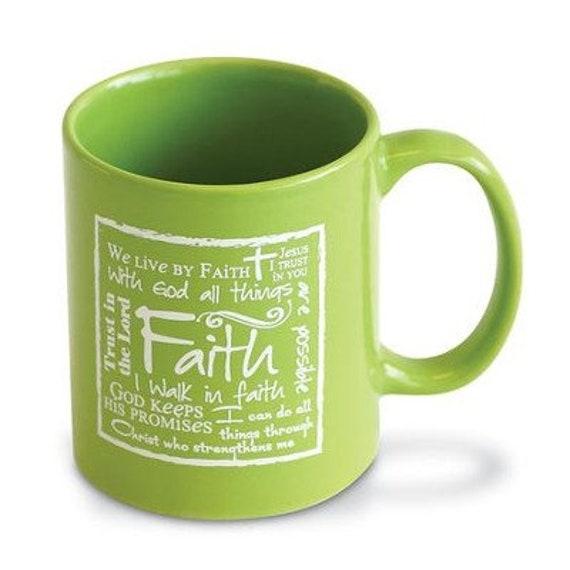 Green Scripture Faith Ceramic Inspirational Coffee Mug