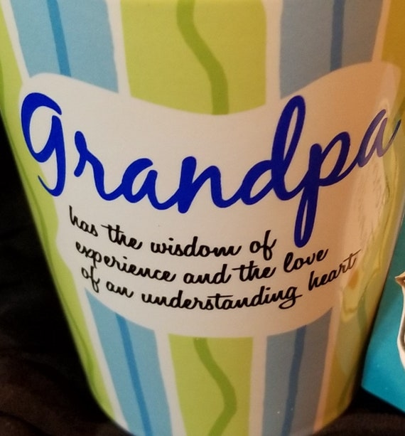 Grandpa mug coffee and tea mug in blue and green bistro-style ceramic coffee gift
