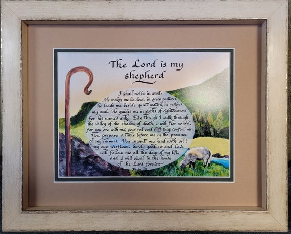 The Lord is my Shepherd Psalm 23 framed and matted calligraphy and art picture