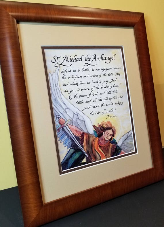 St. Michael the Archangel home decor framed calligraphy art print Confirmation, RCIA, house warming, Father's Day and Birthday w/gold frame