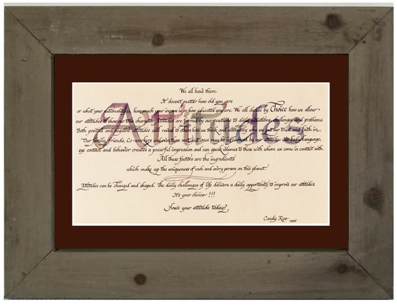 Attitudes calligraphy verse framed and matted picture for high school teen or college graduate, office gift, home and Father's Day, Friend