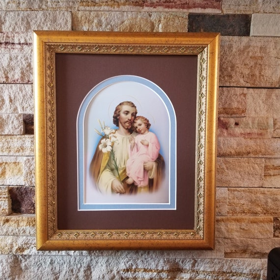 Saint Joseph and the child Jesus print framed and matted picture St Joseph art print in gold frame