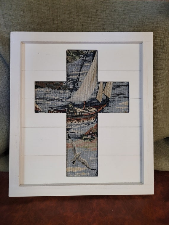 Framed rustic pallet Christian cross with sailboat and seagull fabric background wall décor for beach house or home