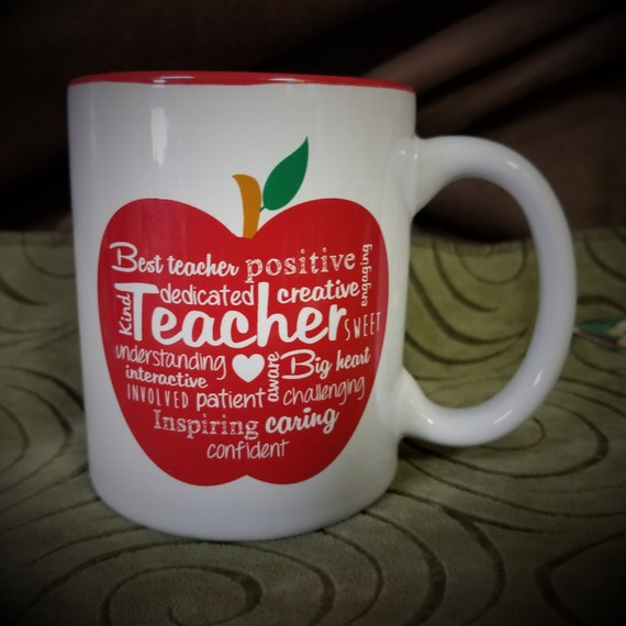 Teacher ceramic coffee and tea mug with poem