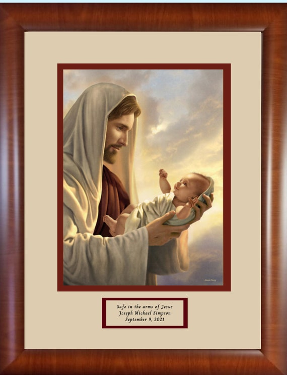 """11"""" X 14"""" Safe in the arms of Jesus print Framed and matted personalized memorial keepsake picture for baby and child reflects love of Jesus"""