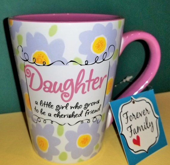 Daughter coffee and tea mug with purple and yellow flowers