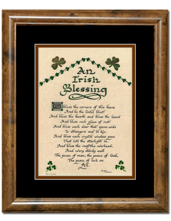 Irish Blessing God bless the corners of this house framed calligraphy art print  shamrocks, calligraphy for gift, home or St. Patrick's Day