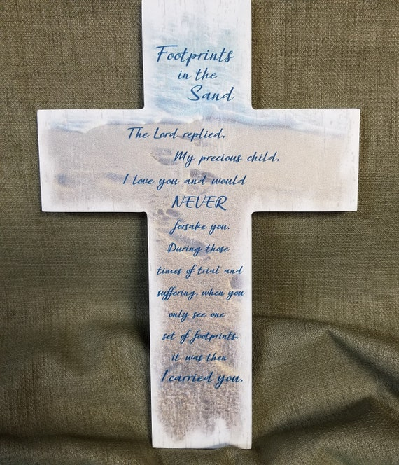 Footprints in the Sand Wall Cross comfort gift for hope, sympathy and friendship