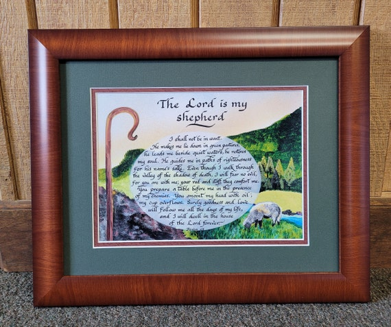 The Lord is my Shepherd Psalm 23 framed calligraphy and art picture