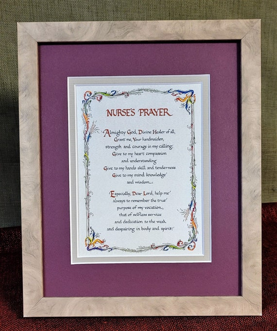 Nurses Prayer verse with option for Personalization with a bottle of Free Pre scriptures