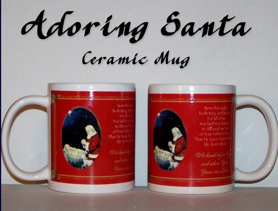Adoring Santa Coffee and Tea Ceramic Christmas Mug