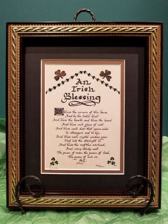 Irish Blessing God bless the corners of this house framed calligraphy art print w shamrocks, calligraphy for gift, home or St. Patrick's Day