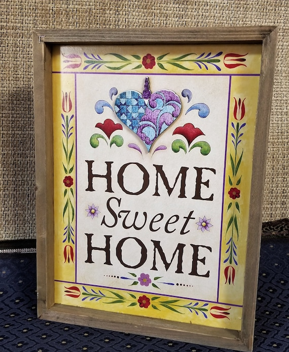 Jim Shore Home Sweet Home Rustic Colorful Country Farmhouse Box Sign with heart design