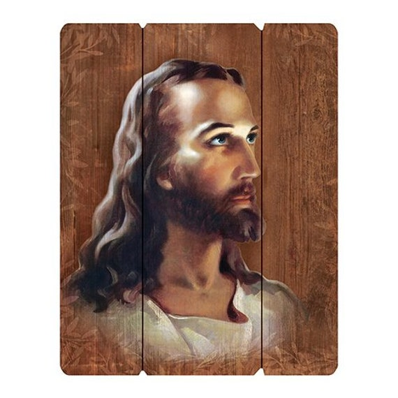 Head of Christ Pallet sign picture for home and gift giving Image of Jesus wall picture