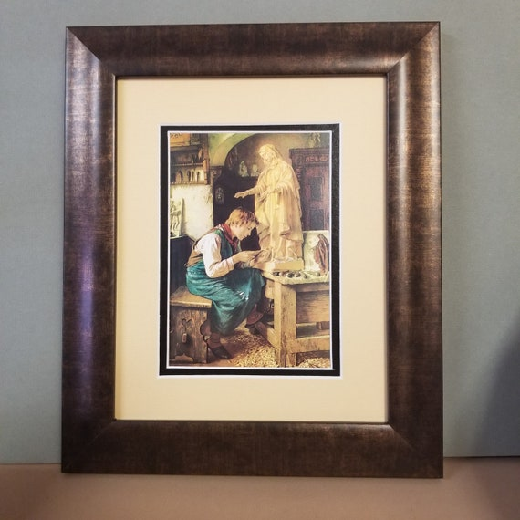 Madonna art His Madonna Boy carving Blessed Virgin Mary matted and framed vintage Catholic Art Print