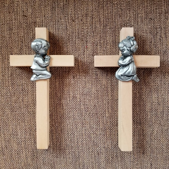 Baby Boy or Baby Girl Wood Cross with pewter prayerful kneeling boy or kneeling girl