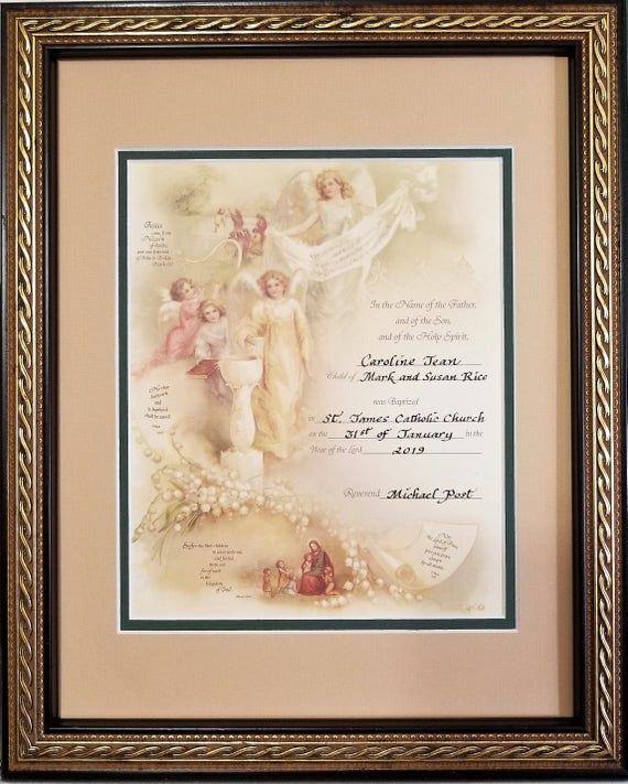Baptism Angel Victorian Certificate personalized with hand lettered calligraphy framed for baby girl or boy with free baptism greeting card