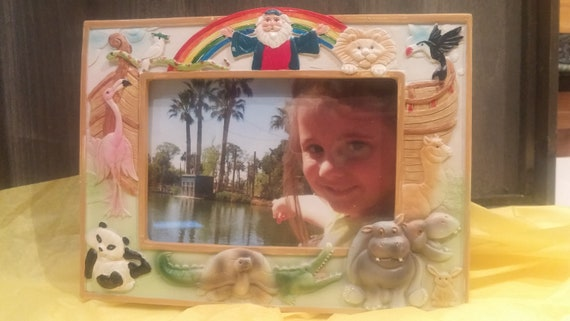 Noah's Ark childrens picture frame with easel back for desk, counter, or shelf display