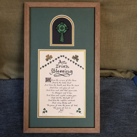 An Irish Blessing Prayer in Calligraphy with Celtic Cross framed and matted Wall décor for Irish Wedding, Friendship and Saint Patrick's Day