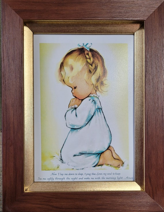 Now I lay me down to sleep prayer praying little girl framed easel back picture