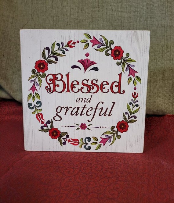 Blessed and Grateful Box sign design by Jim Shore