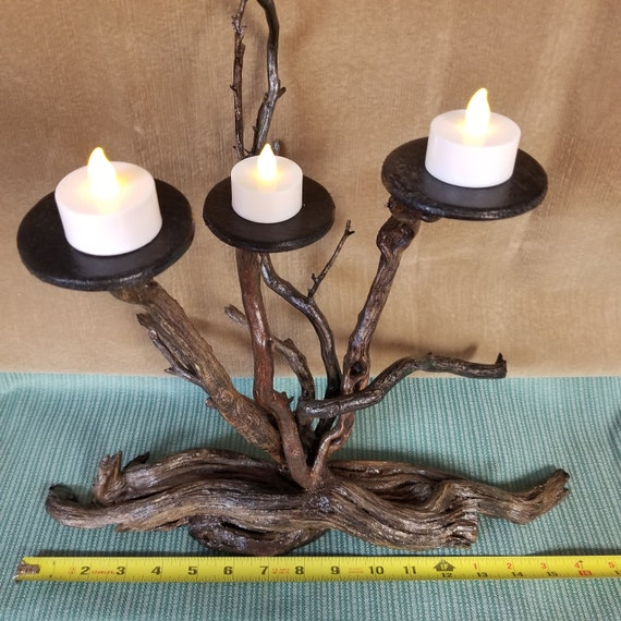 Handmade Beautiful Manzanita Tree Sculpture Tea Lite Tabletop décor rustic Centerpiece Decoration