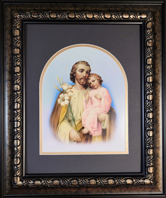 Saint Joseph print with child Jesus framed and matted art for home, office and gift giving
