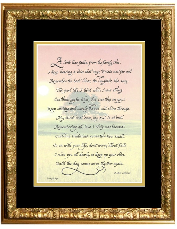 Sympathy Grief picture A limb has fallen from the family tree poem memorial or funeral picture matted and framed with option to personalize