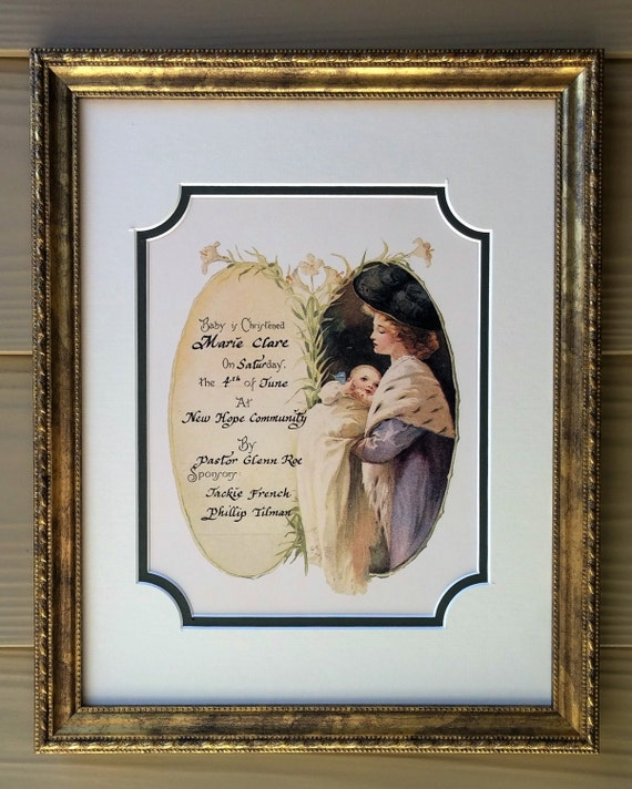 Victorian Christening Certificate for baby boy or girl filled in calligraphy matted and framed wall decor
