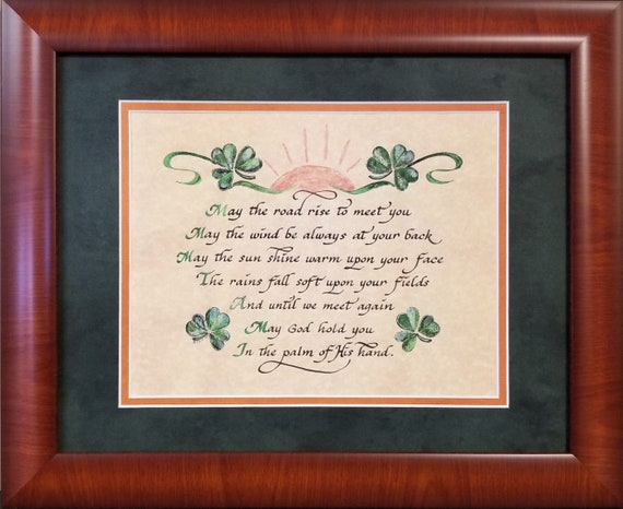 May the road rise up to meet you Irish Blessing prayer with option to personalize for home and for gift giving and FREE Irish Celtic Cross