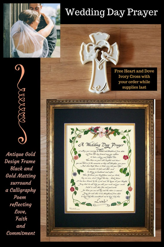 Wedding Day Prayer framed Christian calligraphy poem with FREE Heart and Dove cross gift for Bride and Groom option to personalize