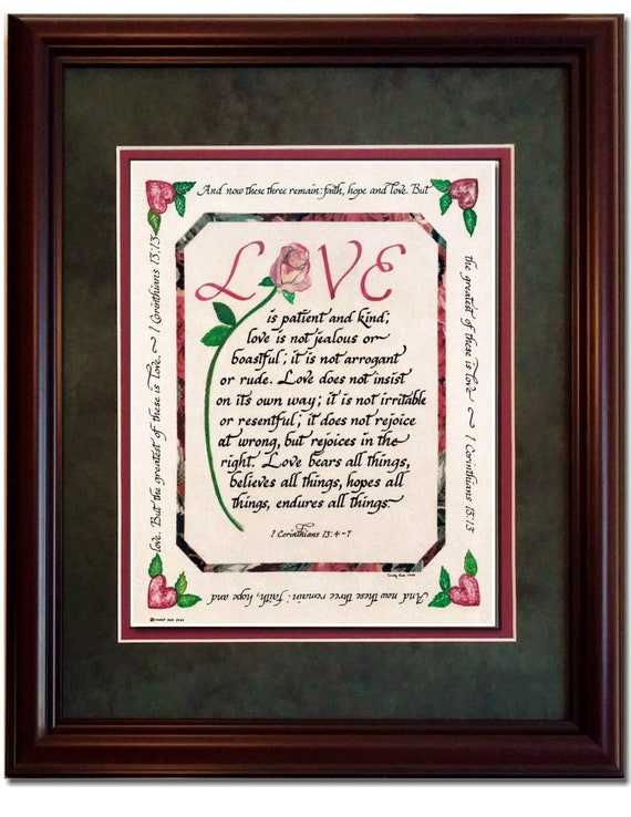 Love is patient and kind framed scripture verse from 1 Corinthians for Valentine's Day, Wedding or Anniversary
