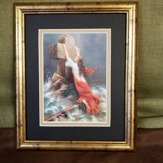 Trust in God Woman in Storm Clinging to Cross Christian Framed Art Print for those who need hope and strength in Jesus Christ