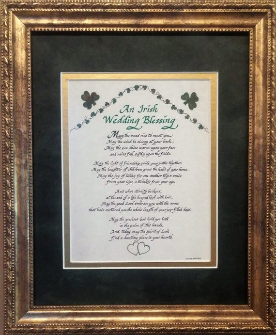 An Irish Wedding Blessing art and calligraphy gift with shamrocks and green hearts and option to personalize