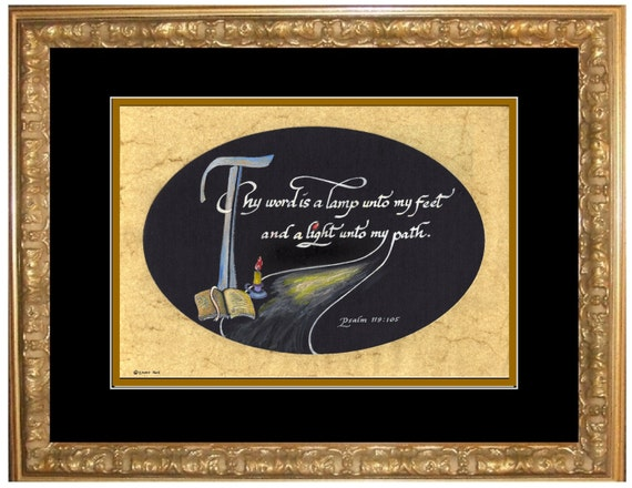 Thy word is a lamp unto my feet psalm 119:105 framed and matted calligraphy art and lettering gift, psalm bible scripture,verse from psalms