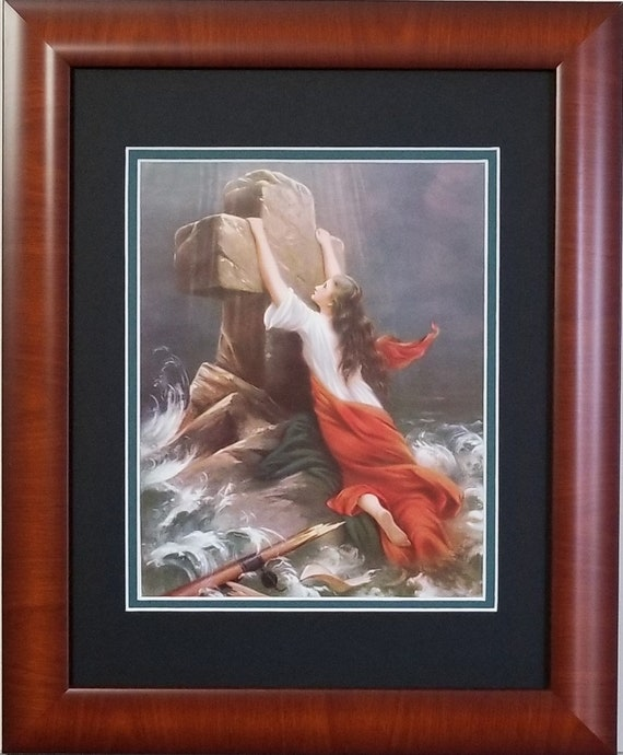Trust in God Woman in Storm Clinging to Cross Christian Framed Art Print for those who need hope and strength in Jesus Christ framed