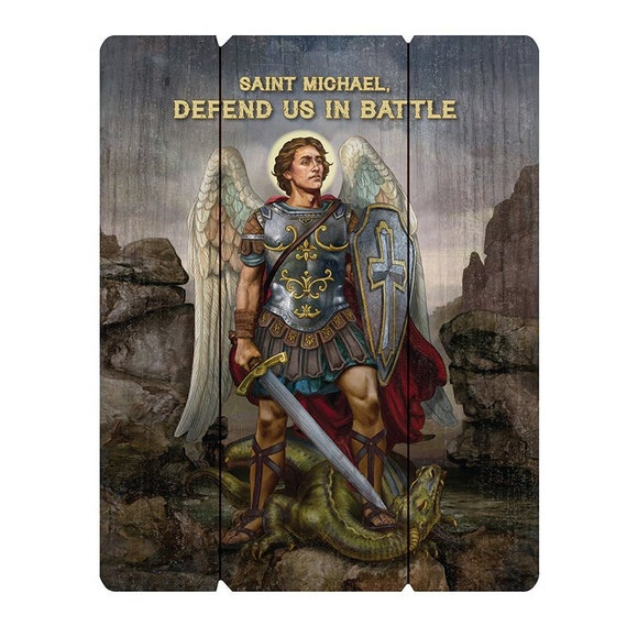 St Michael the archangel pallet sign wall art for home, church or friendship gift