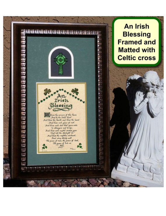 An Irish Blessing Framed prayer and cross Picture for Home, Wedding or Anniversary with shamrocks and Celtic Cross