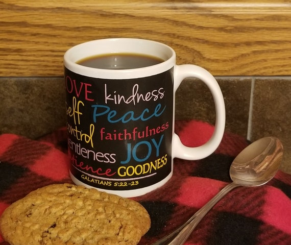 Multi Colored Fruit of the Spirit Coffee Ceramic Mug with Galatians verse
