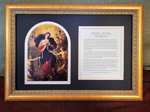 Catholic Mary Un tier of knots framed and matted print with added prayer Un doer of knots picture