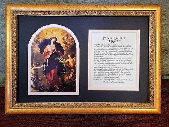 Mary Un tier of knots framed and matted print with added prayer Undoer of knots picture